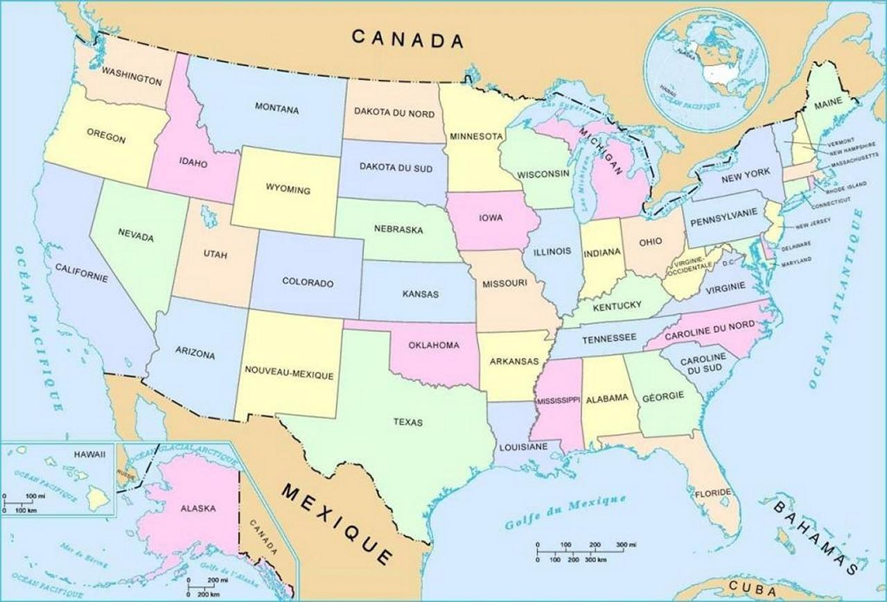 Carte De Geographie Amerique Du Nord Washigton Etats Villes